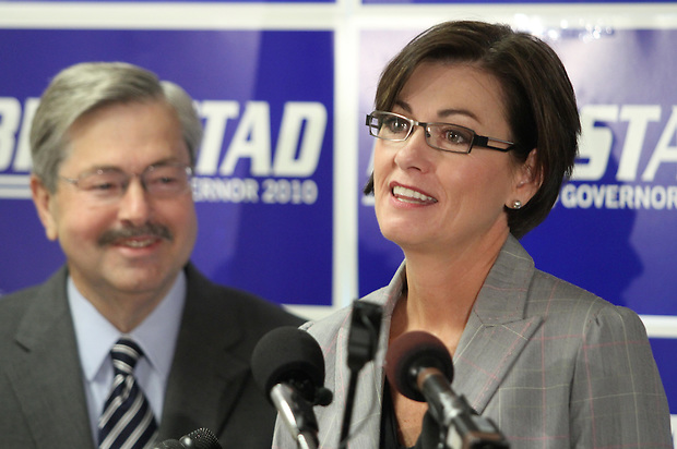 State Sen. Kim Reynolds of Osceola takes the podium after Republican candidate for governor Terry Branstad named her as his running mate Thursday, June 24, 2010, in Ankeny, elevating the southern Iowa freshman legislator to the statewide political stage.