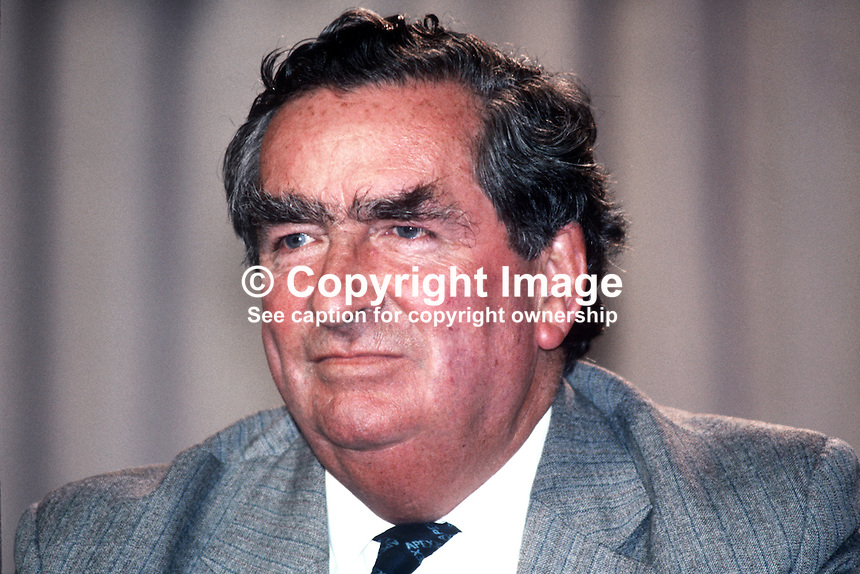 Denis Healey, MP, deputy leader, Labour Party, UK, at annual conference, Blackpool, September 1982. 19820900147DH1.<br />