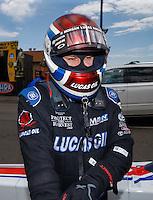 Jul 24, 2016; Morrison, CO, USA; NHRA top fuel driver Richie Crampton during the Mile High Nationals at Bandimere Speedway. Mandatory Credit: Mark J. Rebilas-USA TODAY Sports