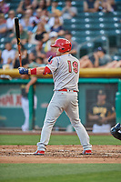 Carson Kelly (19) of the Memphis Redbirds bats against the Salt Lake Bees at Smith's Ballpark on July 24, 2018 in Salt Lake City, Utah. Memphis defeated Salt Lake 14-4. (Stephen Smith/Four Seam Images)