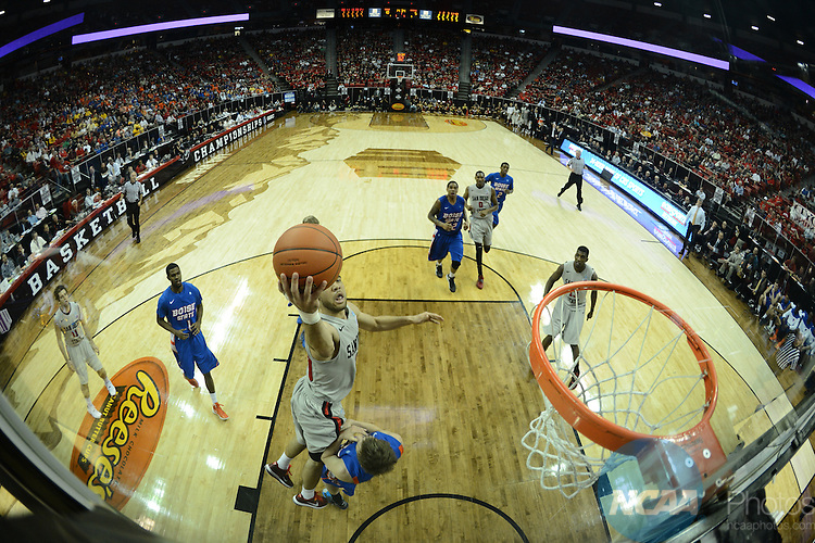13 MAR 2013: The Boise State University takes on San Diego State University during the Mountain West Conference Men's Basketball Tournament held at the Thomas & Mack Center in Las Vegas, NV. Peter Lockley/NCAA Photos