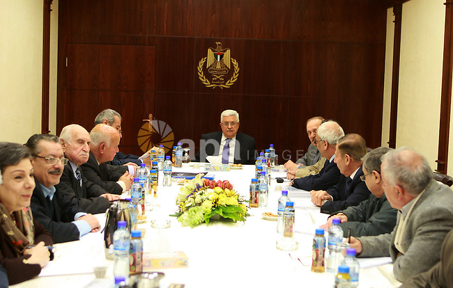 Palestinian President, Mahmoud Abbas (Abu Mazen), chairs the meeting of the Executive Committee of the Palestine National Liberation Movement (Fatah) in the West Bank city of Ramallah on Mar. 07 2012. Photo by Thaer Ganaim. Photo by Mohammed el Atiq