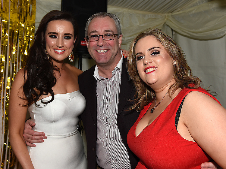 Emma Lynch and Maebh Gogarty celebrating their 30th birthdays in D'Vine with Emma's dad Joe. Photo:Colin Bell/pressphotos.ie