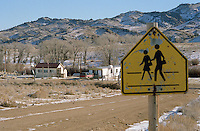 The River Bridge isolated school, left, is classroom to two students. Wyoming, one of the nation's most rural states, supports many isolated schools with few students. (Kevin Moloney for the New York Times)