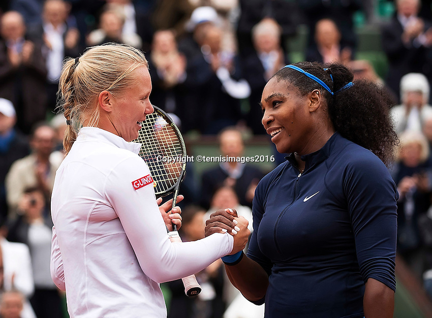 Paris, France, 03 June, 2016, Tennis, Roland Garros, Semifinal women, Kiki Bertens (NED) congratulates  Serena Williams (USA) with her win<br /> Photo: Henk Koster/tennisimages.com