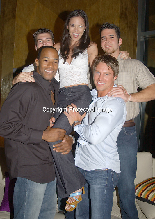 ..McKinley Freeman, Jamie Newton, Terri Ivens, Douglas ..Seibert and Andrew Springer ..at a party for the finalists in All My Children's Sexiest Man ..Alive Contest at Planet Hollywood  on September 13, 2003. Photo by Robin Platzer, Twin Images