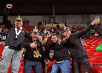 Deutsche Fans mit preussischer Pickelhaube haben Spaß - 01.09.2017: Tschechische Republik vs. Deutschland, Eden Arena