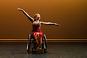 London, UK. 09.05.2018. Step Change Studios present their ballroom show Fusion, at Sadler's Wells' Lilian Baylis Studio. Fusion is the UK's first inclusive Latin and ballroom dance showcase by disabled and non-disabled artists, drawing on different dance influences such as swing and contemporary to develop original pieces inspired by Latin and ballroom. Picture shows: RUMBA SOLO created by Ivana Ostrowski and performed by Amy Trigg. Photograph © Jane Hobson.