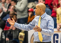 WASHINGTON, DC - JANUARY 29: Jamion Christian head coach of George Washington reacts to a play during a game between Davidson and George Wshington at Charles E Smith Center on January 29, 2020 in Washington, DC.