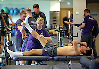 Pictured: Jack Cork and Kate Rees Monday 04 July 2016<br />Re: Swansea City FC players at the Landore training ground, return for this season's preparation.