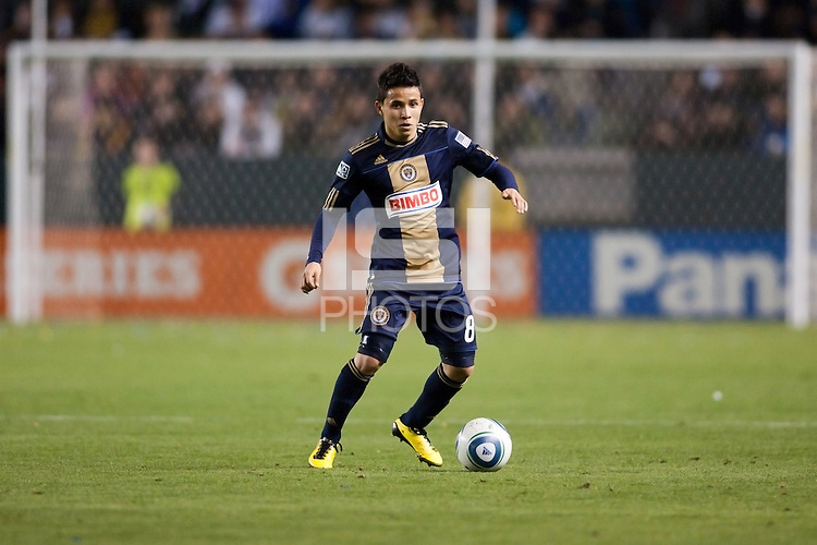 Philadelphia Union midfielder Roger Torres (8). The LA Galaxy defeated the Philadelphia Union 1-0 at Home Depot Center stadium in Carson, California on  April  2, 2011....