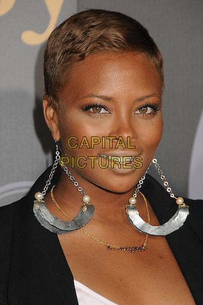 "Eva Marcille.""Vault of Secrets"" Pre-ESPY Party held at Spot 5750, Hollywood, California, USA..July 12th, 2011.headshot portrait black white earrings silver dangling .CAP/ADM/BP.©Byron Purvis/AdMedia/Capital Pictures."