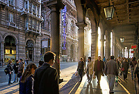 Street scenes in Genova including sun thru columns on XX settempre street and Piazza de Ferrari and Christopher Columbus house.