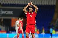 Sam Vokes of Wales applauds the fans at the final whistle during the UEFA Euro 2020 Qualifier match between Wales and Azerbaijan at the Cardiff City Stadium in Cardiff, Wales, UK. Friday 06, September 2019