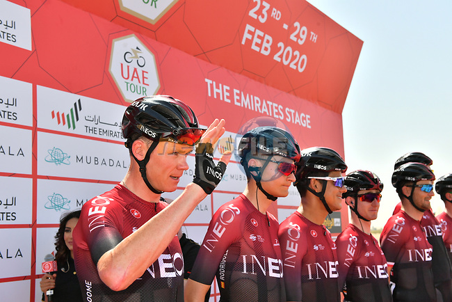 Chris Froome (GBR) and Team Ineos at sign on before Stage 3 The Emirates Stage of the UAE Tour 2020 running 184km from Al Qudra Cycle Track to Jebel Hafeet, Dubai. 25th February 2020.<br /> Picture: LaPresse/Massimo Paolone   Cyclefile<br /> <br /> All photos usage must carry mandatory copyright credit (© Cyclefile   LaPresse/Massimo Paolone)