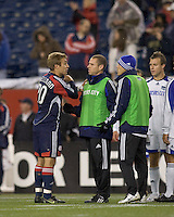 New England Revolution forward Taylor Twellman (20) in a discussion with Kansas City Wizards at the end of the match. The Kansas City Wizards defeated the New England Revolution, 3-1, in Gillette Stadium on October 25, 2008. Photo by Andrew Katsampes/isiphotos.com