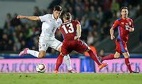 PRAGUE, Czech Republic - September 3, 2014: USA's Emerson Hyndman and Lukas Vacha of the Czech Republic during the international friendly match between the Czech Republic and the USA at Generali Arena.