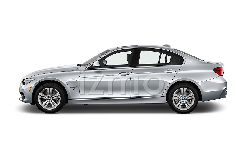Car Driver side profile view of a 2017 BMW 3-Series 330e-iPerformance 4 Door Sedan Side View
