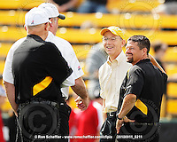 September 11, 2010; Hamilton, ON, CAN; Hamilton Tiger-Cats defensive coordinator / assistant head coach / linebackers coach Greg Marshall, owner Bob Young and head coach Marcel Bellefeuille. CFL football: Montreal Alouettes vs. Hamilton Tiger-Cats at Ivor Wynne Stadium. The Alouettes defeated the Tiger-Cats 27-6. Mandatory Credit: Ron Scheffler. Copyright (c) 2010 Ron Scheffler.