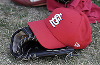 April 2, 2004:  Glove and hat of the St. Louis Cardinals organization during Spring Training at Roger Dean Stadium in Jupiter, FL.  Photo by:  Mike Janes/Four Seam Images