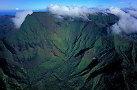 Aerial view of Mt. Waialeale, the wettest spot in Hawaii