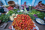 People seling and buying vegetable or fruits in the vegy Market in Mandalay
