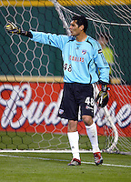 2006 MLS Regular Season Match at RFK Stadium, FC Dallas goalkeeper Darion Sala organizing his team, final score DC United 1, FC Dallas 1, Saturday, April 29.