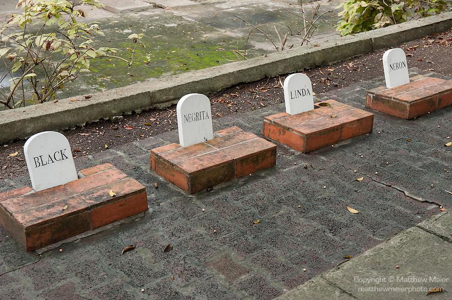 Finca La Vigia, San Francisco de Paula, Cuba; four head stones mark the grave sites of Hemingway's dogs at the Hemingway Museum