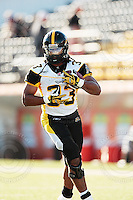 Aug 3, 2007; Hamilton, ON, CAN; Winnipeg Blue Bombers play the Hamilton Tiger-Cats at Ivor Wynne Stadium. The Tiger-Cats defeated the Blue Bombers 43-22. Mandatory Credit: Ron Scheffler. Pictured here is Hamilton Tiger-Cats fullback (33) Julian Radlein.