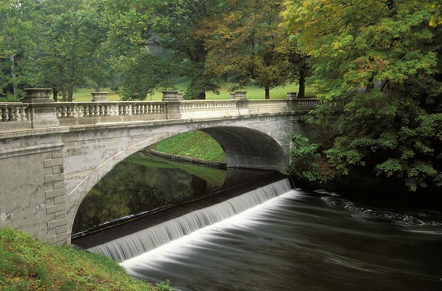 White Bridge over Crum Elbow Creek, Vanderbilt Mansion National Historic Site, Hyde Park, Dutchess County, New York