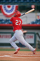 Palm Beach Cardinals catcher Jose Godoy (27) follows through on a swing during a game against the Florida Fire Frogs on May 1, 2018 at Osceola County Stadium in Kissimmee, Florida.  Florida defeated Palm Beach 3-2.  (Mike Janes/Four Seam Images)