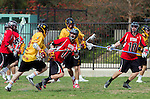 Los Angeles, CA 02/15/14 - Kyle Ulman (USC #18), Hunter Reynolds (Utah #18) and \u16\ in action during the Utah versus USC game as part of the 2014 Pac-12 Shootout at UCLA.  Utah defeated USC 10-9.