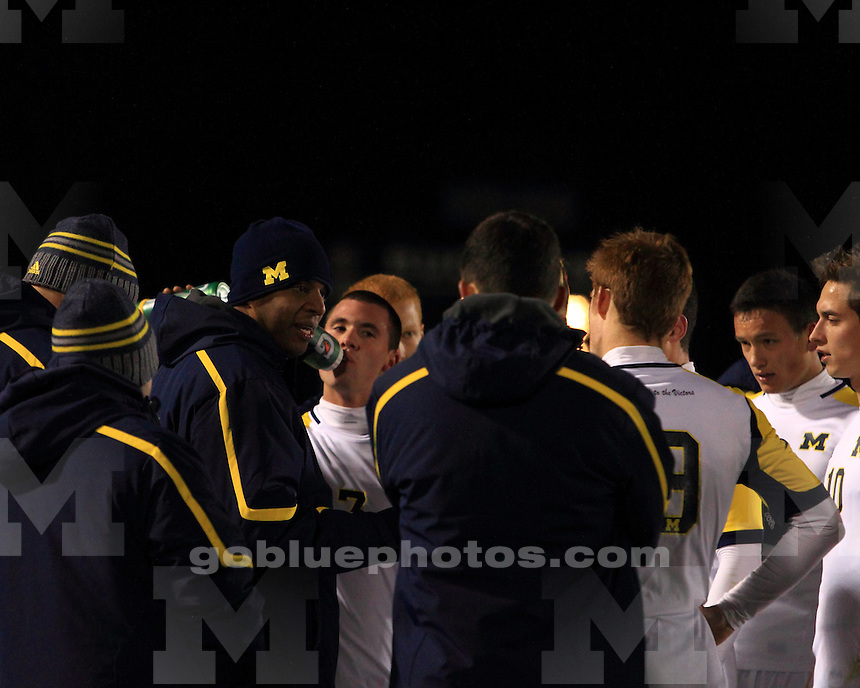 The University of Michigan men's soccer team was defeated by Indiana University 2-1 in over time during the first round of the 2013 Big Ten Men's Soccer Tournament. Columbus, OH. November 13, 2013.