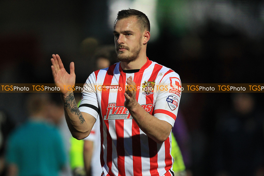Luke Wilkinson of Stevenage thanks the fans during Stevenage vs Crawley Town, Sky Bet League 2 Football at the Lamex Stadium