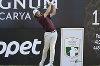 Tommy Fleetwood (ENG) tees off the 18th tee during Saturday's Round 3 of the 2018 Turkish Airlines Open hosted by Regnum Carya Golf &amp; Spa Resort, Antalya, Turkey. 3rd November 2018.<br /> Picture: Eoin Clarke | Golffile<br /> <br /> <br /> All photos usage must carry mandatory copyright credit (&copy; Golffile | Eoin Clarke)