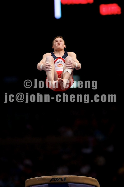 3/1/08 - Photo by John Cheng -  Jonathan Horton of the United States performs on vault at the Tyson American Cup in Madison Square GardenPhoto by John Cheng - Tyson American Cup 2008 in Madison Square Garden, New York.Jonathan Horton