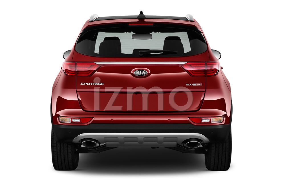 Straight rear view of a 2017 KIA Sportage EX 5 Door SUV stock images