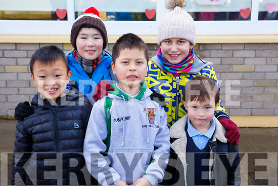 Clogher NS celebrating the Chinese New Year for their students. L to r: Tong Yuze (Tom), Brian Kelly, Regan Zhang, Ri-Ann Zhang and Sean Kelly.