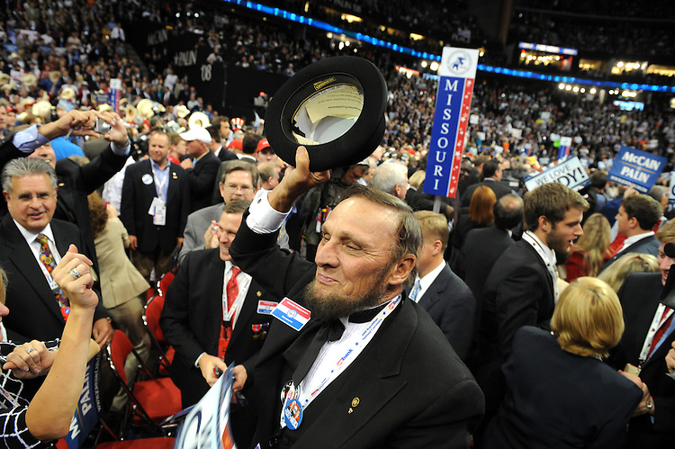 Missouri delegate George Engelbach dances during an intermission before Sen. John McCain accepted the Republican nomination for president on the last night of the Republican National Convention held at the Xcel Center in St. Paul, September 4, 2008.