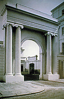 Cumberland Terrace, Regency Park. Linking archway and courtyard behind.  Designed by John Nash. London.
