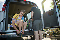 Daan Soete (BEL/Telenet-Fidea) getting ready for a first encounter with the Cross Vegas 2014 race course
