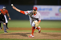 Lakewood BlueClaws relief pitcher Will Hibbs (54) delivers a pitch to the plate against the Kannapolis Intimidators at Kannapolis Intimidators Stadium on April 8, 2017 in Kannapolis, North Carolina.  The BlueClaws defeated the Intimidators 8-4 in 10 innings.  (Brian Westerholt/Four Seam Images)