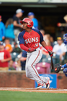 Hagerstown Suns shortstop Osvaldo Abreu (10) at bat during a game against the Lexington Legends on May 22, 2015 at Whitaker Bank Ballpark in Lexington, Kentucky.  Lexington defeated Hagerstown 5-1.  (Mike Janes/Four Seam Images)