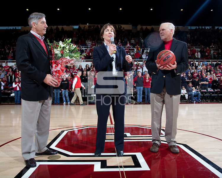 STANFORD, CA - January 8, 2011: Athletic director Bob Bowlsby, Coach Tara VanDerveer and President John Hennessy during VanDerveer's 800th career win celebration after Stanford's game against Arizona State at Maples Pavilion. Stanford won 82-35.
