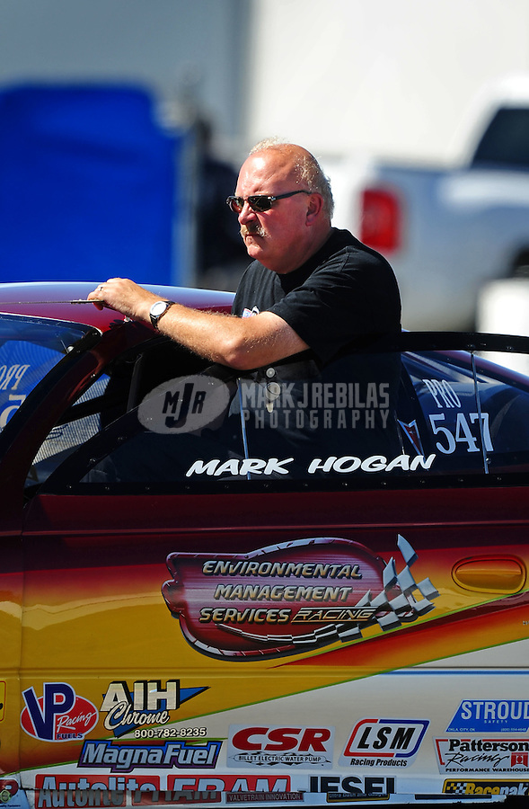 Sept. 4, 2010; Clermont, IN, USA; NHRA pro stock driver Mark Hogan during qualifying for the U.S. Nationals at O'Reilly Raceway Park at Indianapolis. Mandatory Credit: Mark J. Rebilas-