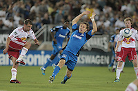 New York Red Bulls defender/midfielder Teemu Tainio (2) kicks the ball against San Jose Earthquakes midfielder Brad Ring (5). The San Jose Earthquakes tied the New York Red Bulls 2-2 at Stanford Stadium in Stanford, California on July 2nd, 2011.