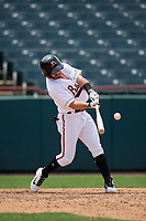 Bowie Baysox Ryan McKenna (1) hits a three run home run in the bottom of the ninth inning during an Eastern League game against the Akron RubberDucks on May 30, 2019 at Prince George's Stadium in Bowie, Maryland.  Akron defeated Bowie 9-5.  (Mike Janes/Four Seam Images)