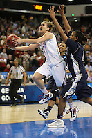 SACRAMENTO, CA - MARCH 29:  Jeanette Pohlen of the Stanford Cardinal makes the winning layup as time expires during Stanford's 55-53 win over Xavier in the NCAA Women's Basketball Championship Elite Eight on March 29, 2010 at Arco Arena in Sacramento, California.