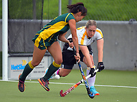 Action from the Wellington premier three women's hockey grading match between Victoria University 3 and Harbour City 2 at National Hockey Stadium in Wellington, New Zealand on Saturday, 29 April 2017. Photo: Dave Lintott / lintottphoto.co.nz