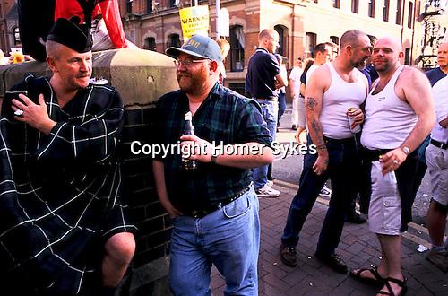 'GAYFEST MANCHESTER, UK', 'BEARS' - HEAVILY BUILT GAY MEN DRINKING IN CANAL STREET,